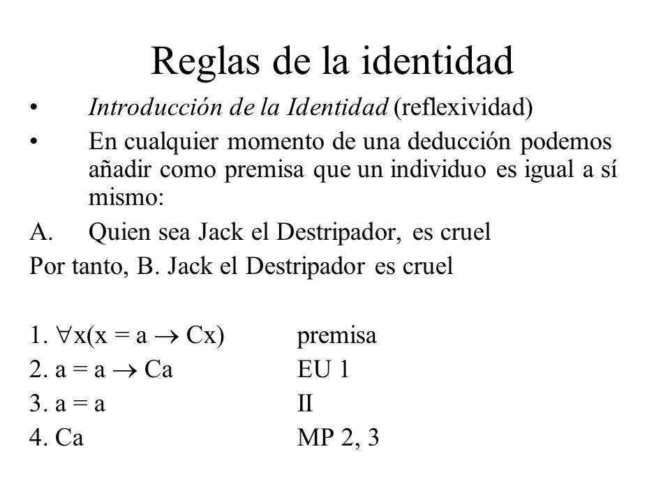Reglas de la identidad Introducción de la Identidad (reflexividad) En cualquier momento de una deducción podemos añadir como premisa que un individuo