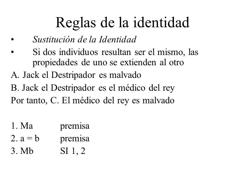 Reglas de la identidad Sustitución de la Identidad Si dos individuos resultan ser el mismo, las propiedades de uno se extienden al otro A. Jack el Des