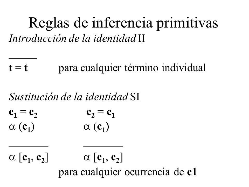 Reglas de inferencia primitivas Introducción de la identidad II _____ t = tpara cualquier término individual Sustitución de la identidad SI c 1 = c 2