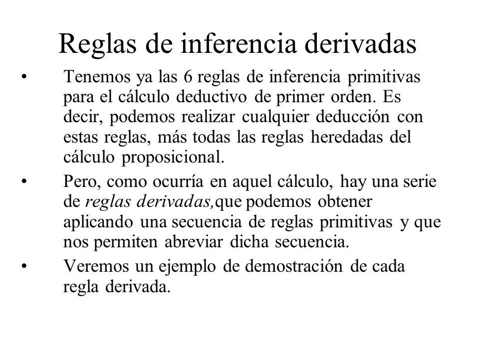 Reglas de inferencia derivadas Tenemos ya las 6 reglas de inferencia primitivas para el cálculo deductivo de primer orden. Es decir, podemos realizar