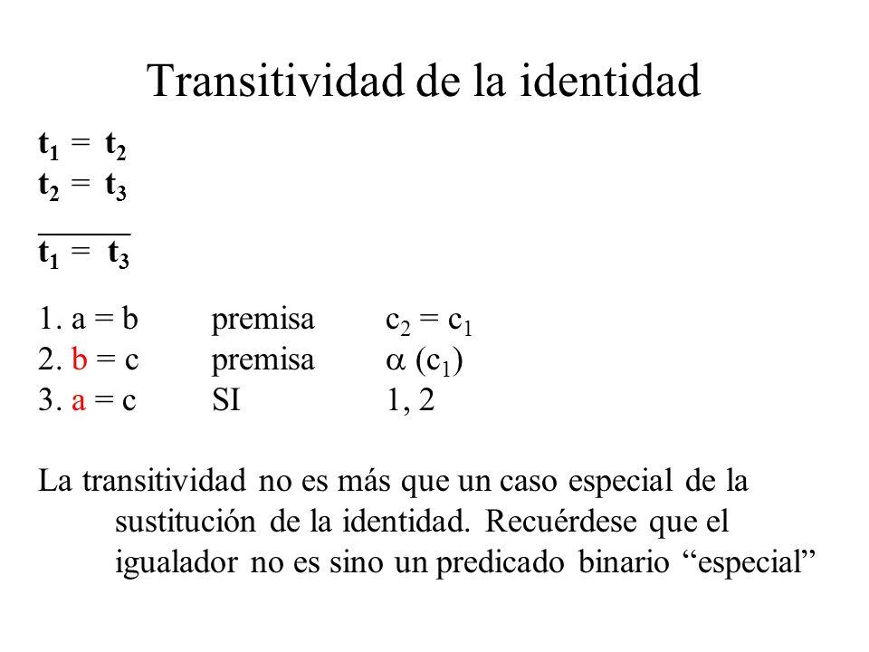 Transitividad de la identidad t 1 = t 2 t 2 = t 3 ________ t 1 = t 3 1. a = bpremisac 2 = c 1 2. b = cpremisa (c 1 ) 3. a = cSI1, 2 La transitividad n