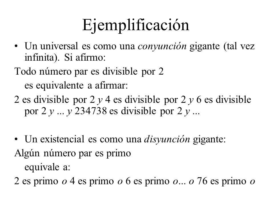 Ejemplificación Un universal es como una conyunción gigante (tal vez infinita). Si afirmo: Todo número par es divisible por 2 es equivalente a afirmar