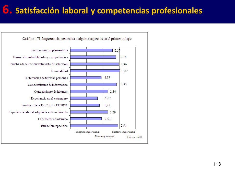 113 6. Satisfacción laboral y competencias profesionales