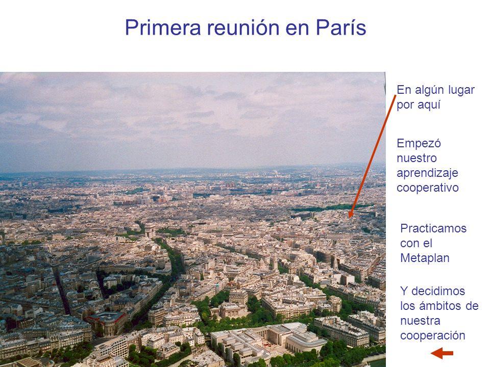 Primera reunión en París Empezó nuestro aprendizaje cooperativo Practicamos con el Metaplan Y decidimos los ámbitos de nuestra cooperación En algún lugar por aquí