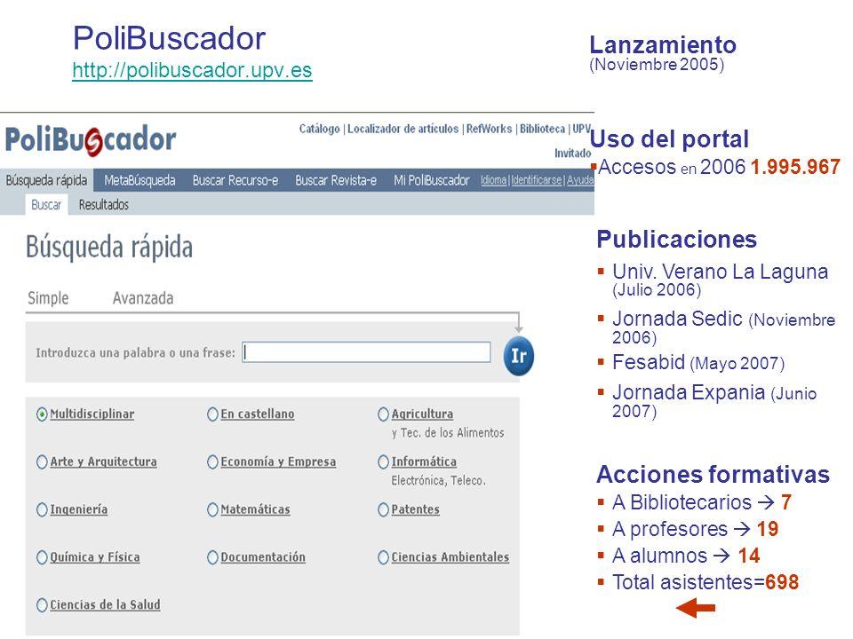 PoliBuscador http://polibuscador.upv.es http://polibuscador.upv.es Uso del portal Accesos en 2006 1.995.967 Publicaciones Univ.