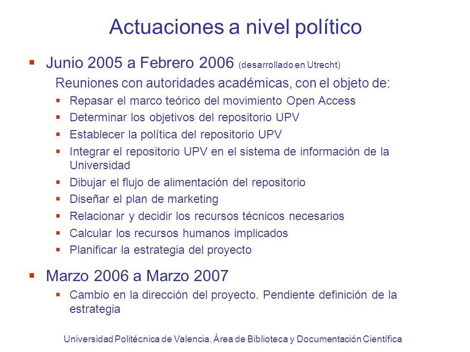 Acciones de sensibilización marzo 2006 - marzo 2007 Transmisión de los principios del Open Access y repositorios en actividades de formación dirigidas a profesorado UPV desde 2002.