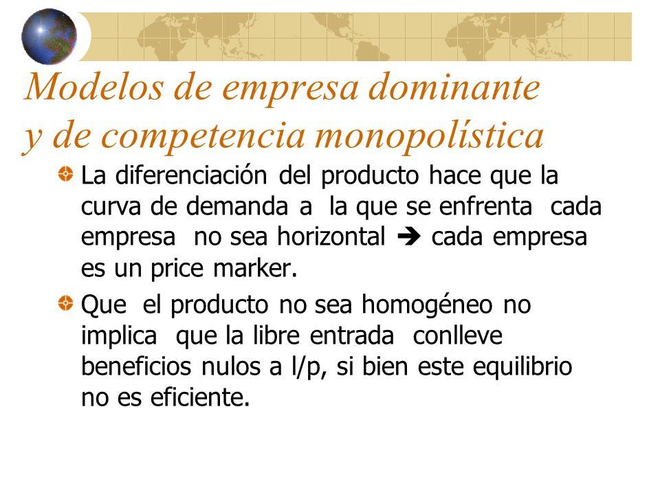 Modelos de empresa dominante y de competencia monopolística La diferenciación del producto hace que la curva de demanda a la que se enfrenta cada empr