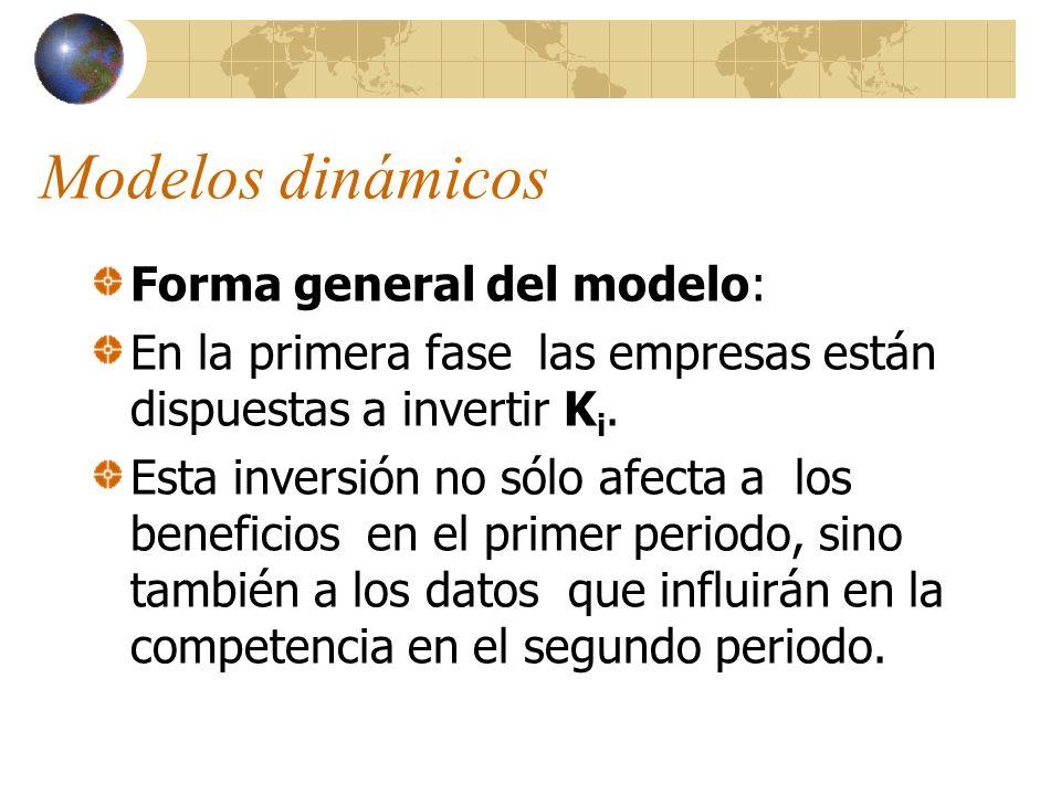 Modelos dinámicos Forma general del modelo: En la primera fase las empresas están dispuestas a invertir K i. Esta inversión no sólo afecta a los benef