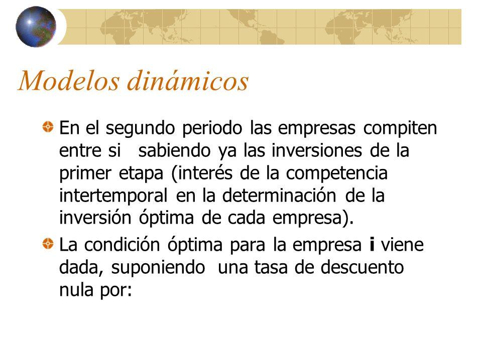 Modelos dinámicos En el segundo periodo las empresas compiten entre si sabiendo ya las inversiones de la primer etapa (interés de la competencia inter