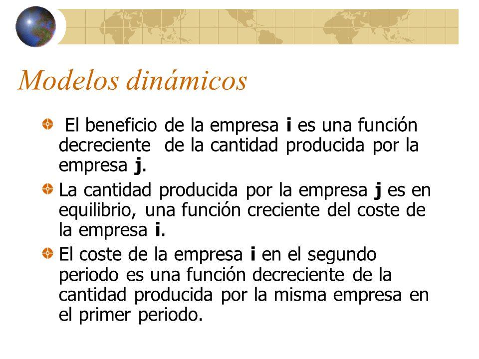Modelos dinámicos El beneficio de la empresa i es una función decreciente de la cantidad producida por la empresa j. La cantidad producida por la empr