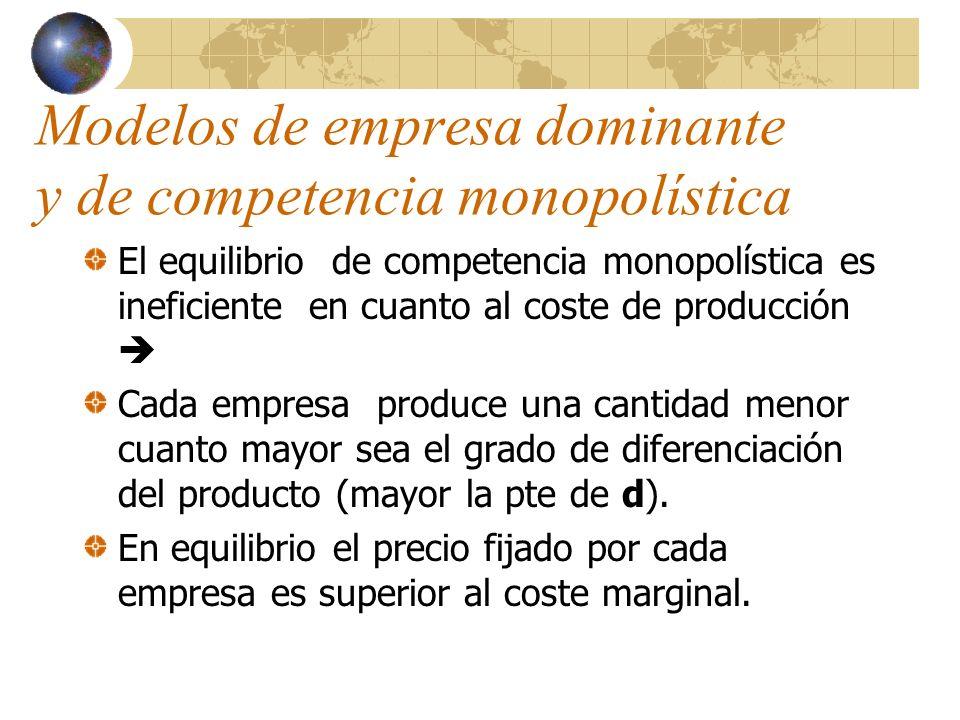 Modelos de empresa dominante y de competencia monopolística El equilibrio de competencia monopolística es ineficiente en cuanto al coste de producción