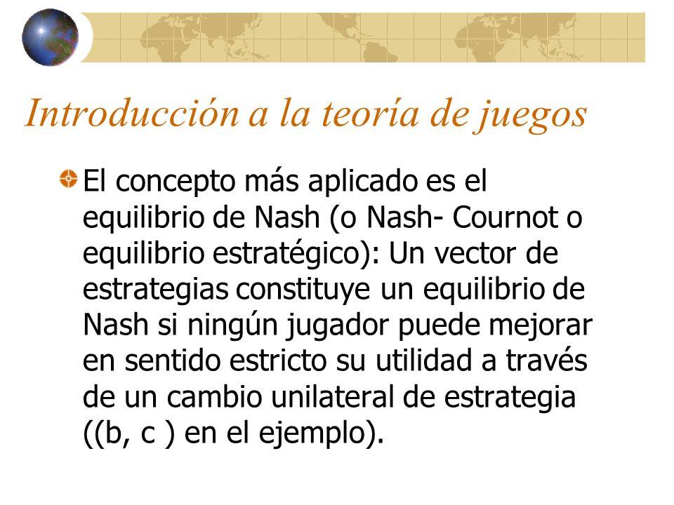Introducción a la teoría de juegos El concepto más aplicado es el equilibrio de Nash (o Nash- Cournot o equilibrio estratégico): Un vector de estrateg