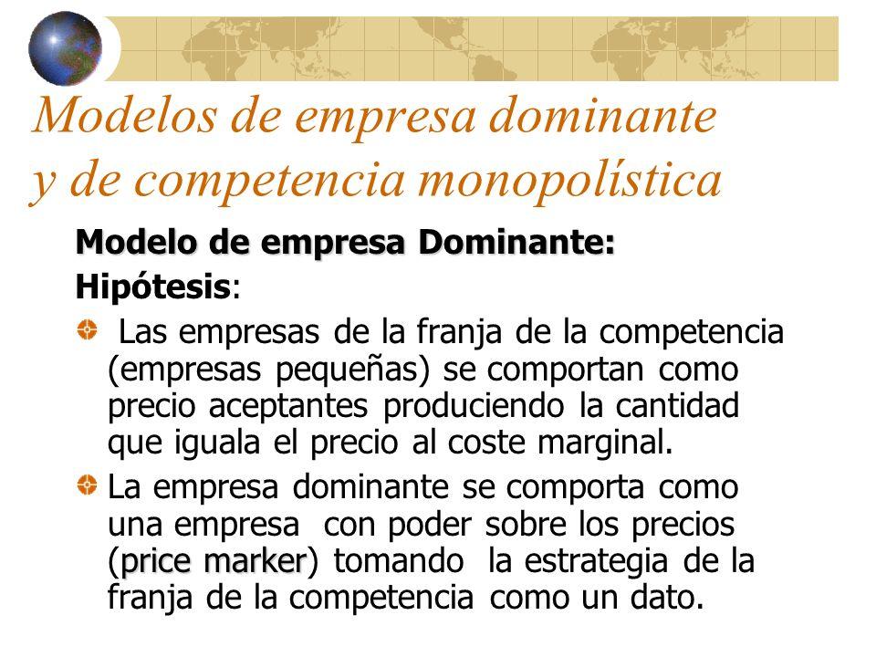 Modelos de empresa dominante y de competencia monopolística Para cualquier precio fijado por la empresa dominante, la cantidad vendida por esta empresa iguala la diferencia entre la demanda de mercado y la cantidad ofrecida por la franja de la competencia.