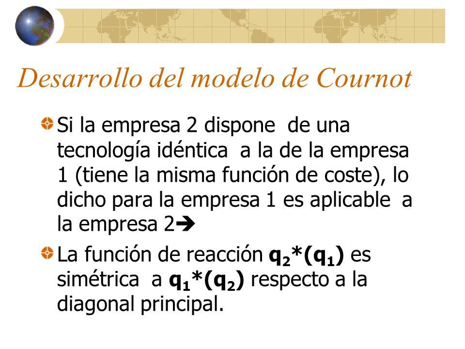 Si la empresa 2 dispone de una tecnología idéntica a la de la empresa 1 (tiene la misma función de coste), lo dicho para la empresa 1 es aplicable a l