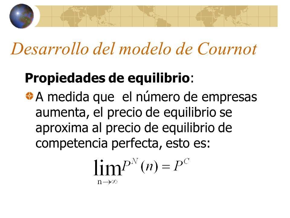 Desarrollo del modelo de Cournot Propiedades de equilibrio: A medida que el número de empresas aumenta, el precio de equilibrio se aproxima al precio