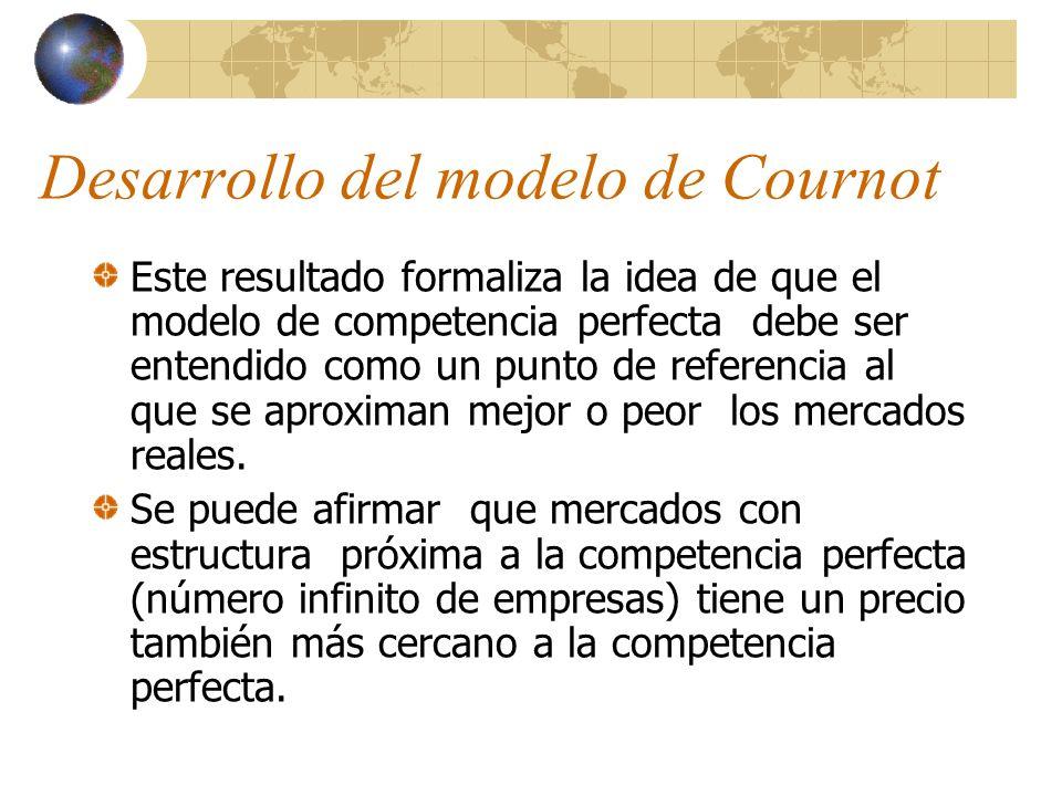 Desarrollo del modelo de Cournot Este resultado formaliza la idea de que el modelo de competencia perfecta debe ser entendido como un punto de referen