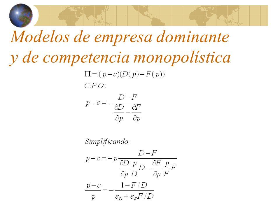 Desarrollo del modelo de Cournot Resolviendo el sistema para hallar la solución simétrica (q i =q N ) se obtiene: