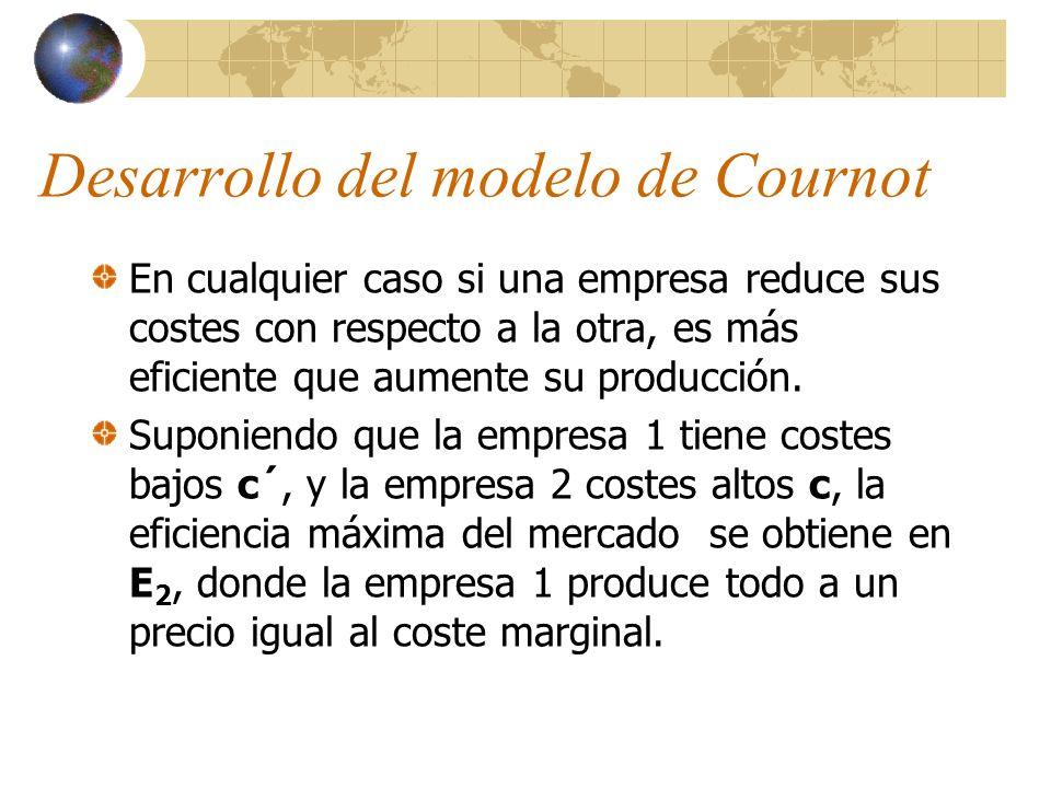 Desarrollo del modelo de Cournot En cualquier caso si una empresa reduce sus costes con respecto a la otra, es más eficiente que aumente su producción