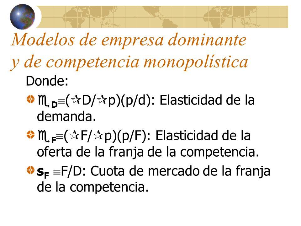 Modelos de empresa dominante y de competencia monopolística Ya que en monopolio se tenía (p-c)/p=1/ D el equilibrio de la empresa dominante corresponde a una situación de monopolio atenuado.