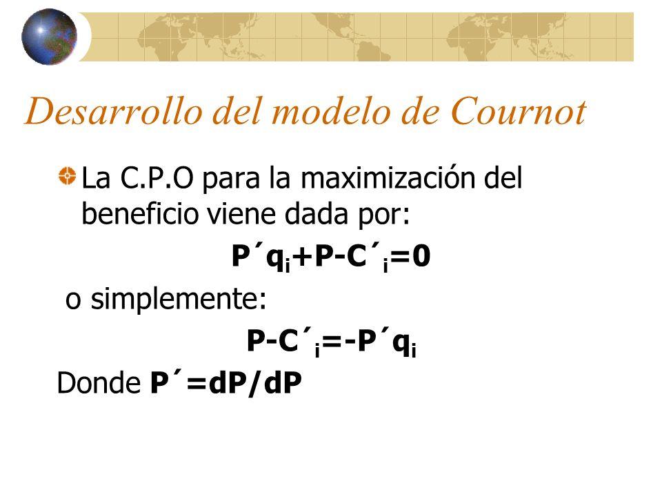 Desarrollo del modelo de Cournot La C.P.O para la maximización del beneficio viene dada por: P´q i +P-C´ i =0 o simplemente: P-C´ i =-P´q i Donde P´=d