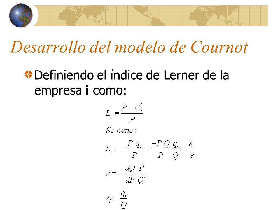 Desarrollo del modelo de Cournot Definiendo el índice de Lerner de la empresa i como: