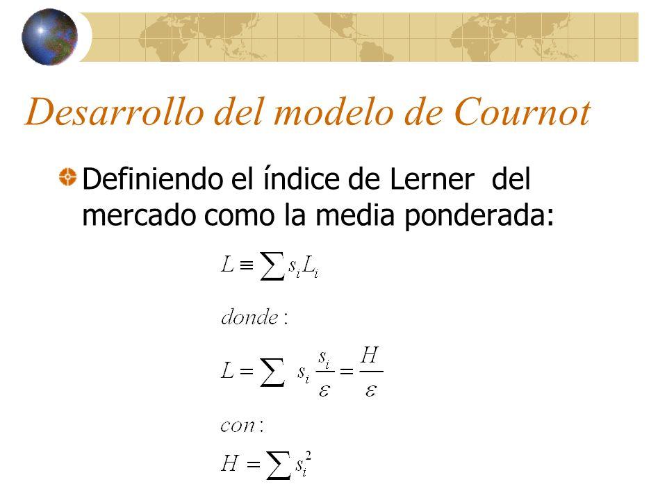 Desarrollo del modelo de Cournot Definiendo el índice de Lerner del mercado como la media ponderada: