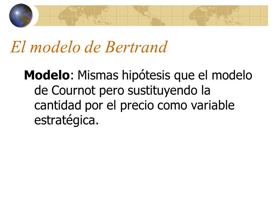 El modelo de Bertrand Modelo: Mismas hipótesis que el modelo de Cournot pero sustituyendo la cantidad por el precio como variable estratégica.