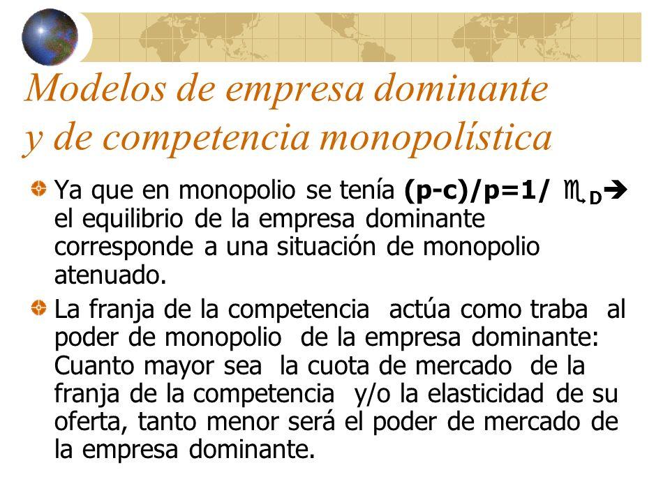 Modelos de empresa dominante y de competencia monopolística Ya que en monopolio se tenía (p-c)/p=1/ D el equilibrio de la empresa dominante correspond