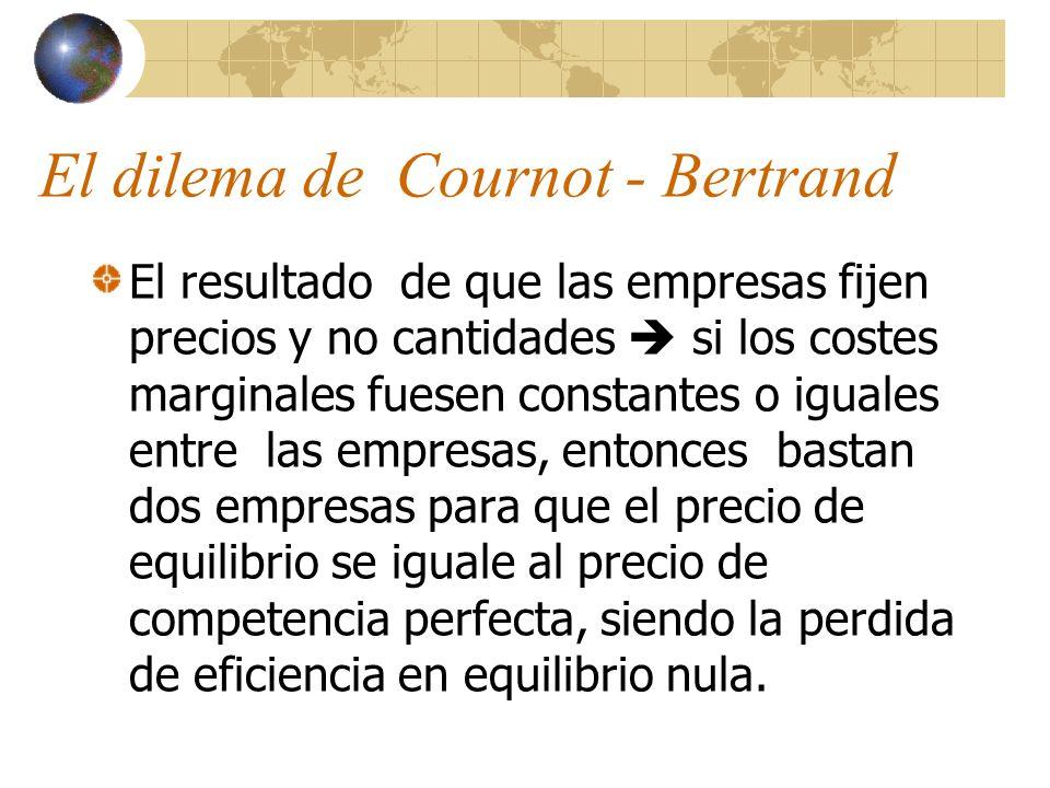 El dilema de Cournot - Bertrand El resultado de que las empresas fijen precios y no cantidades si los costes marginales fuesen constantes o iguales en