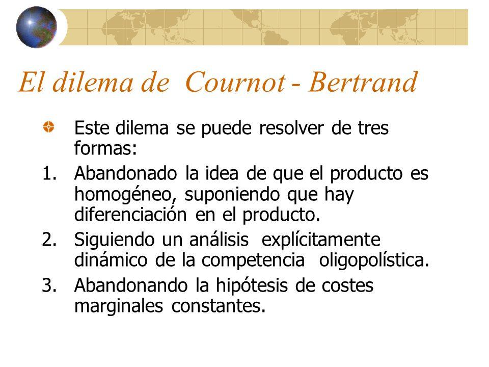 El dilema de Cournot - Bertrand Este dilema se puede resolver de tres formas: 1.Abandonado la idea de que el producto es homogéneo, suponiendo que hay
