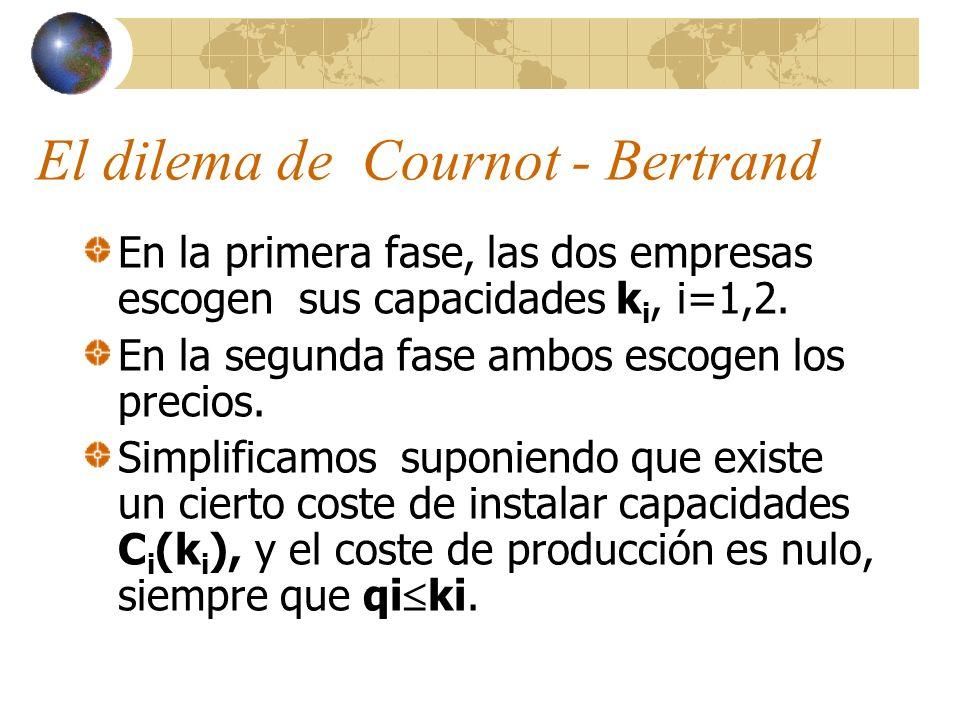 El dilema de Cournot - Bertrand En la primera fase, las dos empresas escogen sus capacidades k i, i=1,2. En la segunda fase ambos escogen los precios.