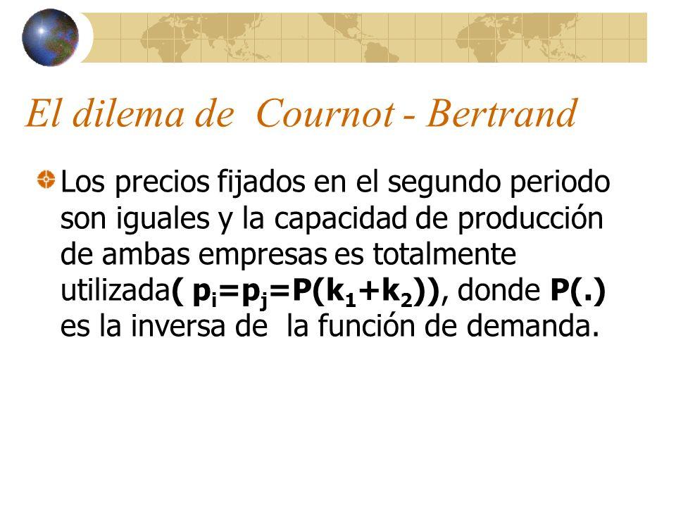 El dilema de Cournot - Bertrand Los precios fijados en el segundo periodo son iguales y la capacidad de producción de ambas empresas es totalmente uti