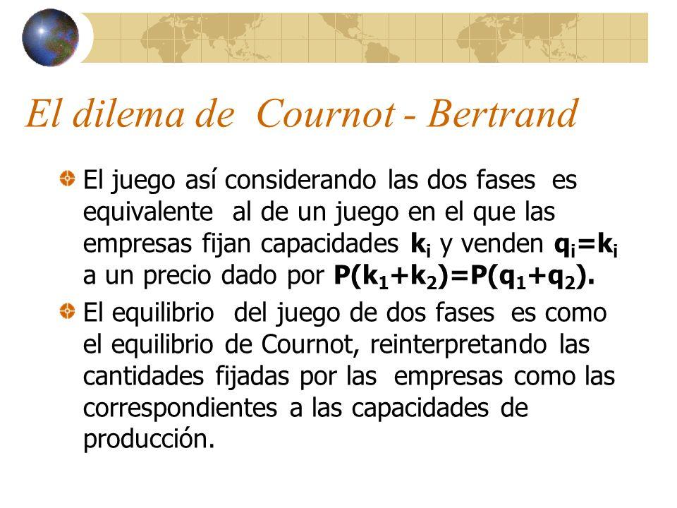 El dilema de Cournot - Bertrand El juego así considerando las dos fases es equivalente al de un juego en el que las empresas fijan capacidades k i y v