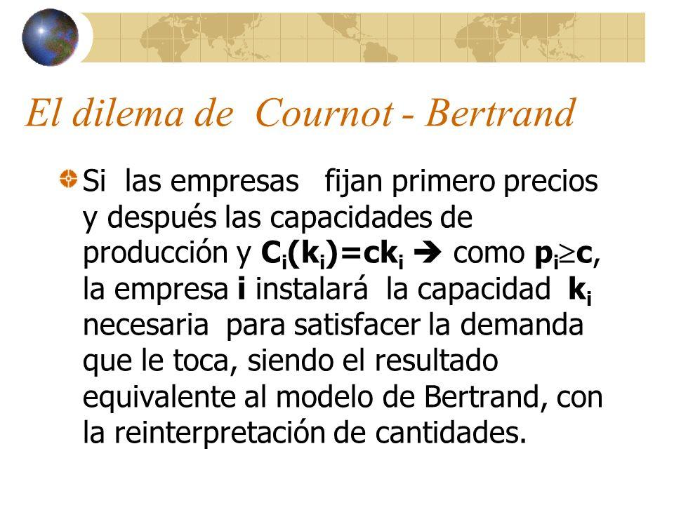 El dilema de Cournot - Bertrand Si las empresas fijan primero precios y después las capacidades de producción y C i (k i )=ck i como p i c, la empresa