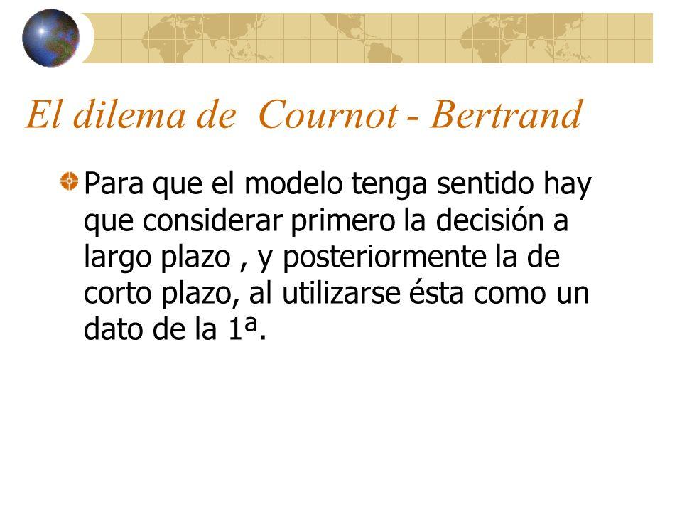 El dilema de Cournot - Bertrand Para que el modelo tenga sentido hay que considerar primero la decisión a largo plazo, y posteriormente la de corto pl