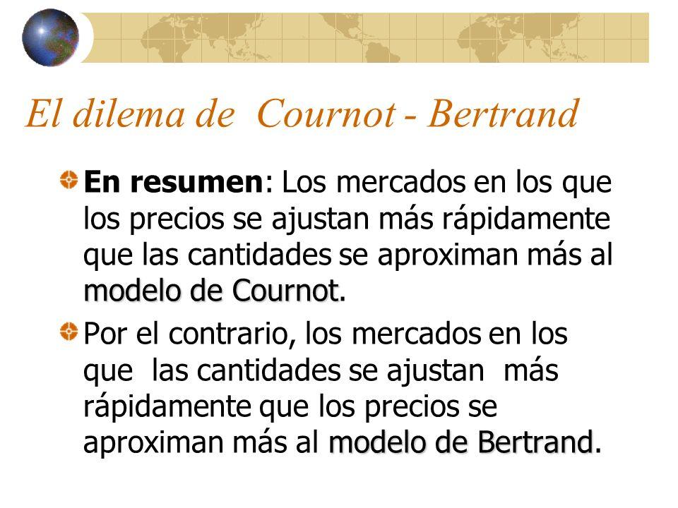 El dilema de Cournot - Bertrand modelo de Cournot En resumen: Los mercados en los que los precios se ajustan más rápidamente que las cantidades se apr