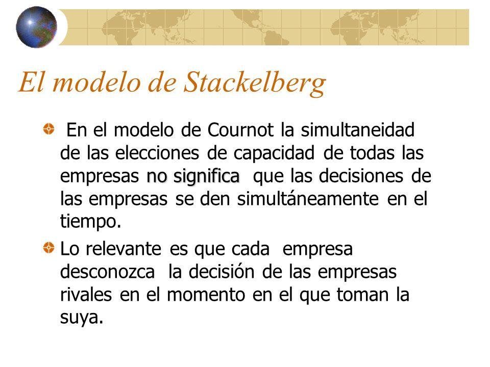 El modelo de Stackelberg no significa En el modelo de Cournot la simultaneidad de las elecciones de capacidad de todas las empresas no significa que l