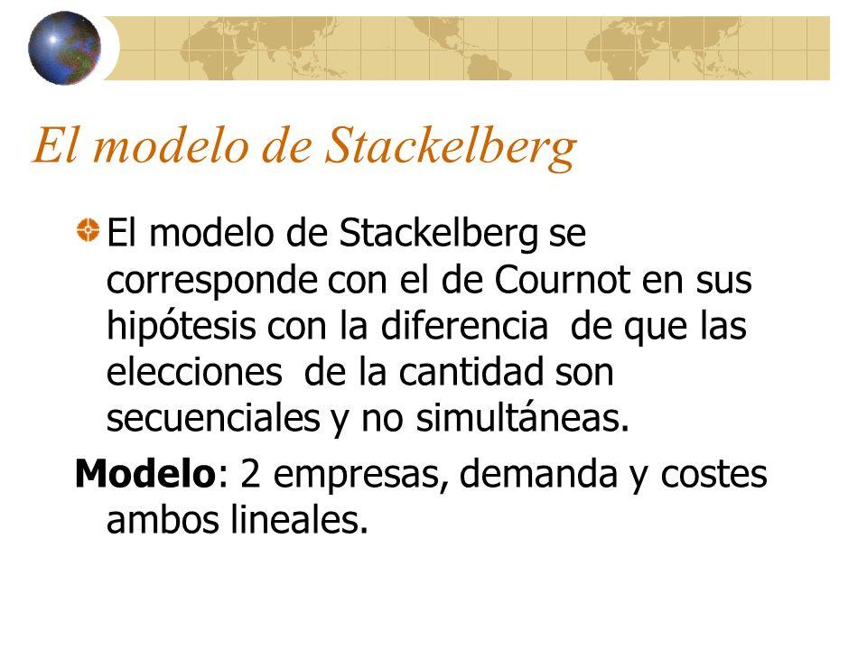 El modelo de Stackelberg El modelo de Stackelberg se corresponde con el de Cournot en sus hipótesis con la diferencia de que las elecciones de la cant