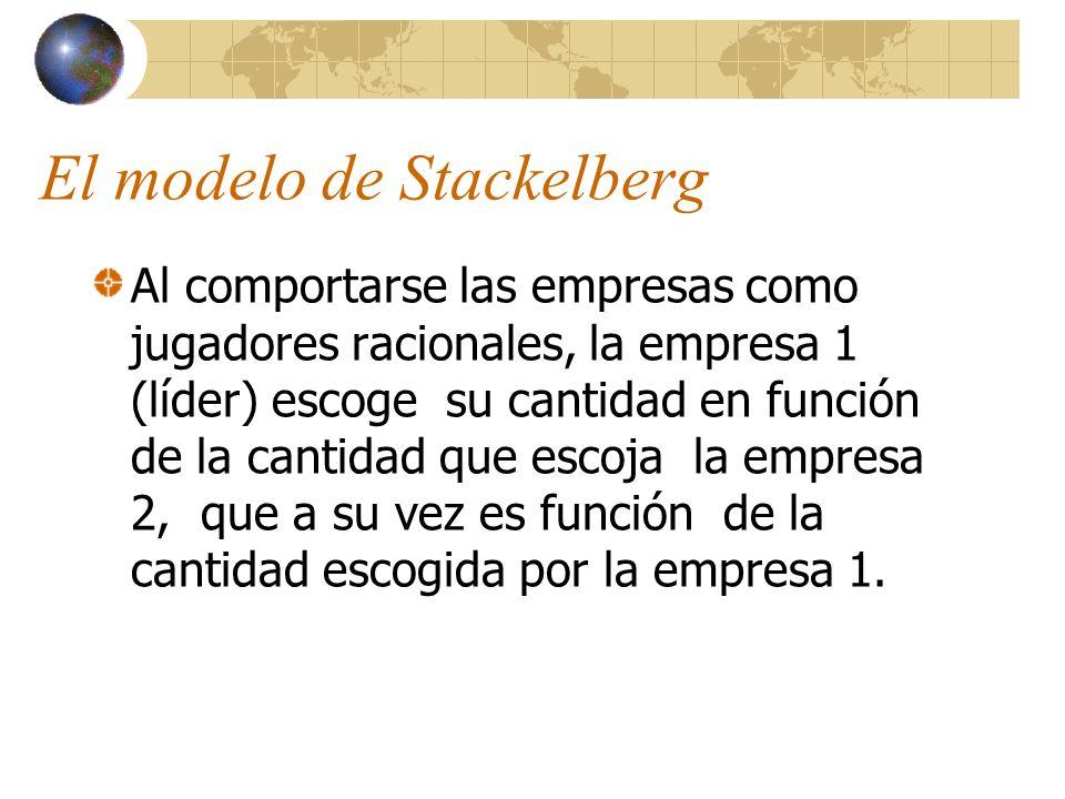 El modelo de Stackelberg Al comportarse las empresas como jugadores racionales, la empresa 1 (líder) escoge su cantidad en función de la cantidad que