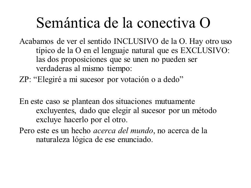 Semántica de la conectiva O Acabamos de ver el sentido INCLUSIVO de la O. Hay otro uso típico de la O en el lenguaje natural que es EXCLUSIVO: las dos