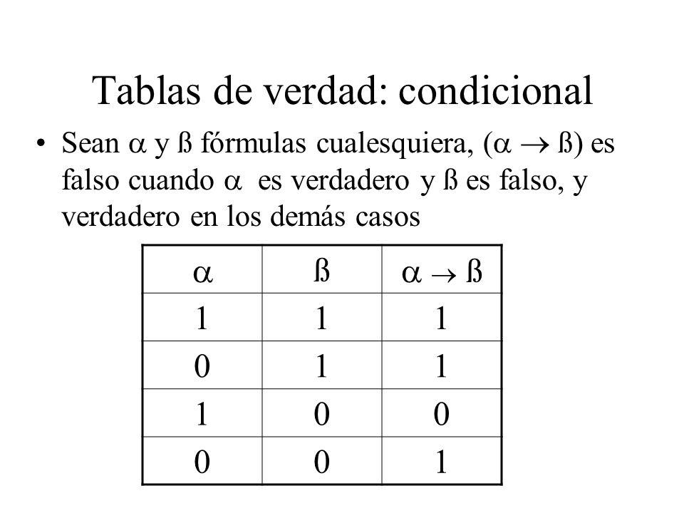 Tablas de verdad: condicional Sean y ß fórmulas cualesquiera, ( ß) es falso cuando es verdadero y ß es falso, y verdadero en los demás casos ß ß 111 011 100 001