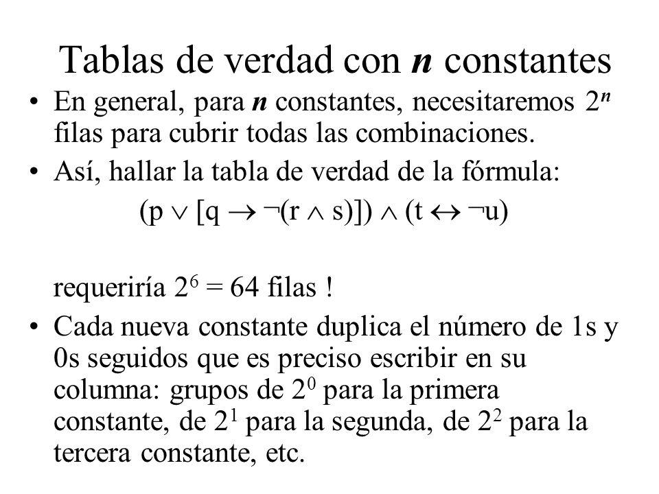 Tablas de verdad con n constantes En general, para n constantes, necesitaremos 2 n filas para cubrir todas las combinaciones. Así, hallar la tabla de