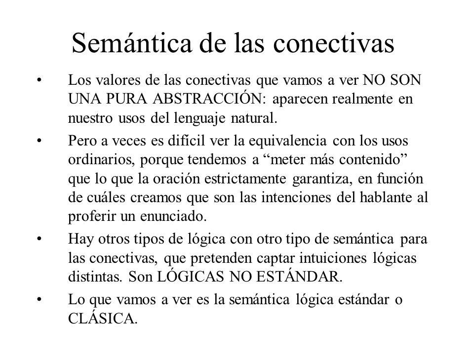 Semántica de las conectivas Los valores de las conectivas que vamos a ver NO SON UNA PURA ABSTRACCIÓN: aparecen realmente en nuestro usos del lenguaje natural.