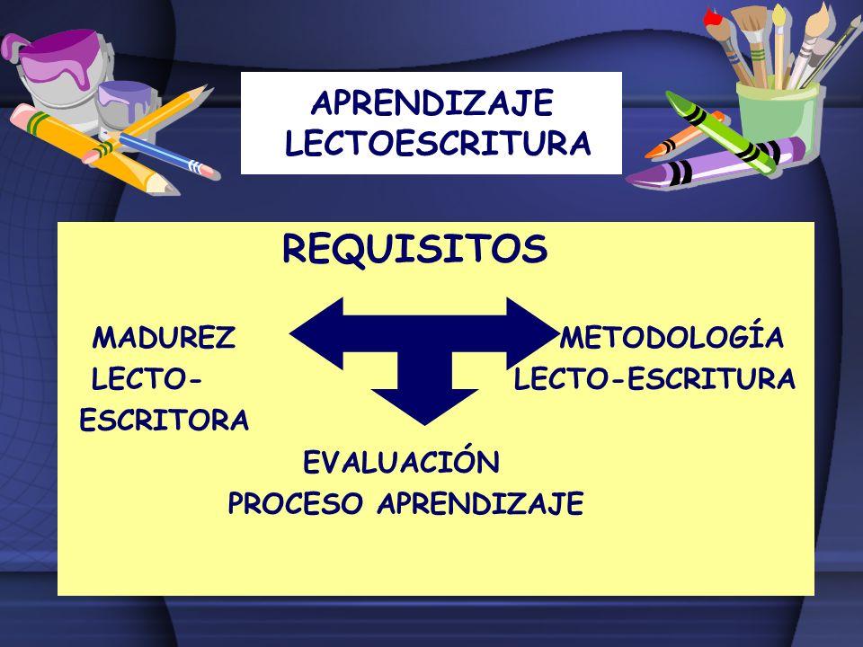 APRENDIZAJE LECTOESCRITURA REQUISITOS MADUREZ METODOLOGÍA LECTO- LECTO-ESCRITURA ESCRITORA EVALUACIÓN PROCESO APRENDIZAJE