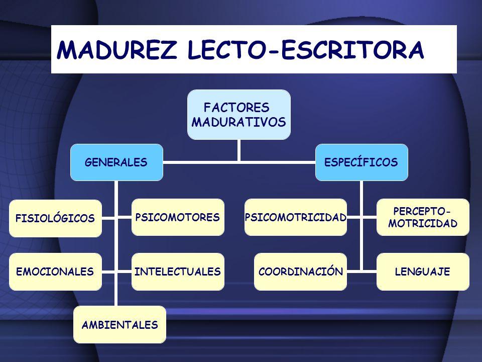 MADUREZ LECTO-ESCRITORA FACTORES MADURATIVOS GENERALES FISIOLÓGICOSPSICOMOTORES EMOCIONALESINTELECTUALES AMBIENTALES ESPECÍFICOS PSICOMOTRICIDAD PERCE