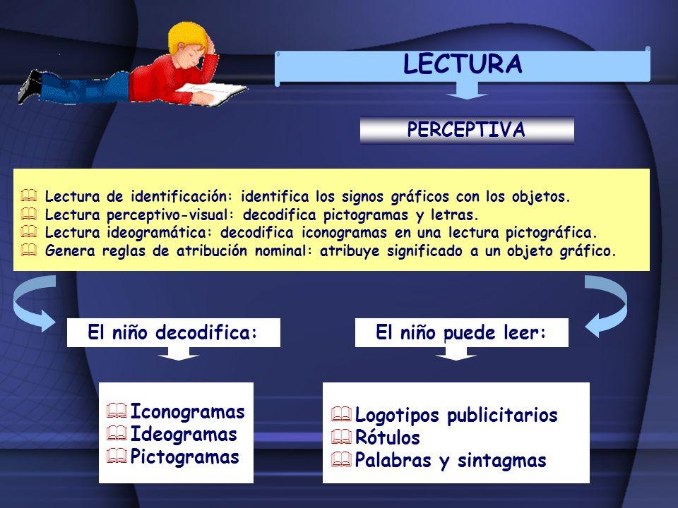 LECTURA Lectura de identificación: identifica los signos gráficos con los objetos. Lectura perceptivo-visual: decodifica pictogramas y letras. Lectura