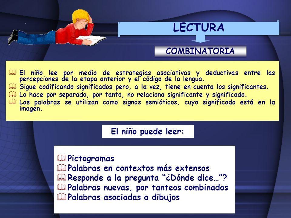 LECTURA COMBINATORIA El niño lee por medio de estrategias asociativas y deductivas entre las percepciones de la etapa anterior y el código de la lengu