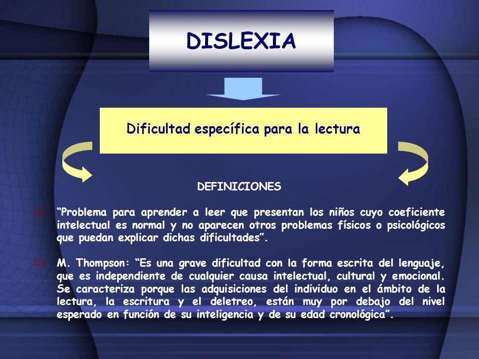 DISLEXIA Dificultad específica para la lectura DEFINICIONES Problema para aprender a leer que presentan los niños cuyo coeficiente intelectual es norm