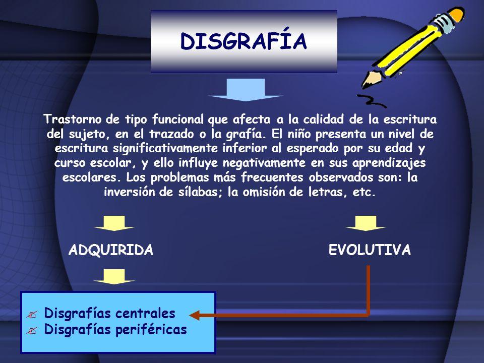 DISGRAFÍA Trastorno de tipo funcional que afecta a la calidad de la escritura del sujeto, en el trazado o la grafía. El niño presenta un nivel de escr