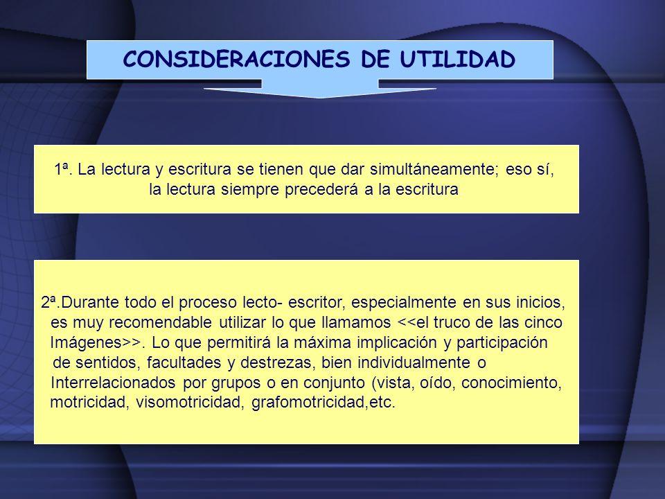 CONSIDERACIONES DE UTILIDAD 1ª. La lectura y escritura se tienen que dar simultáneamente; eso sí, la lectura siempre precederá a la escritura. 2ª.Dura